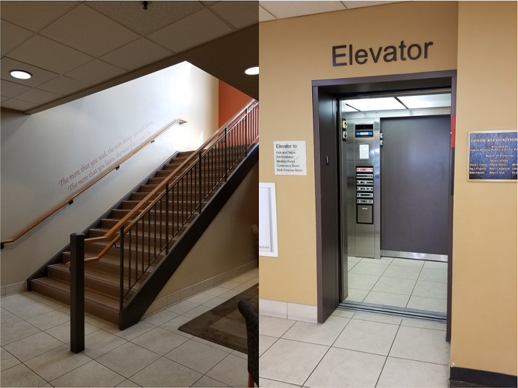 picture 1: Stairs leading up to a second floor. A quote from Dr. Seuss is painted on the wall. picture 2: An open elevator door.