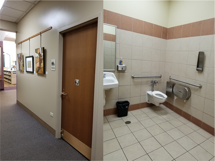 Picture 1: A restroom door in the hallway. Picture 2: Inside the restroom features a toilet and sink, with accessible toilet paper and handrails.